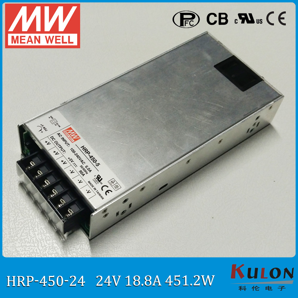 цена на Original MEAN WELL HRP-450-24 single output 450W 18.8A 24V meanwell Power Supply 24V HRP-450 with PFC function