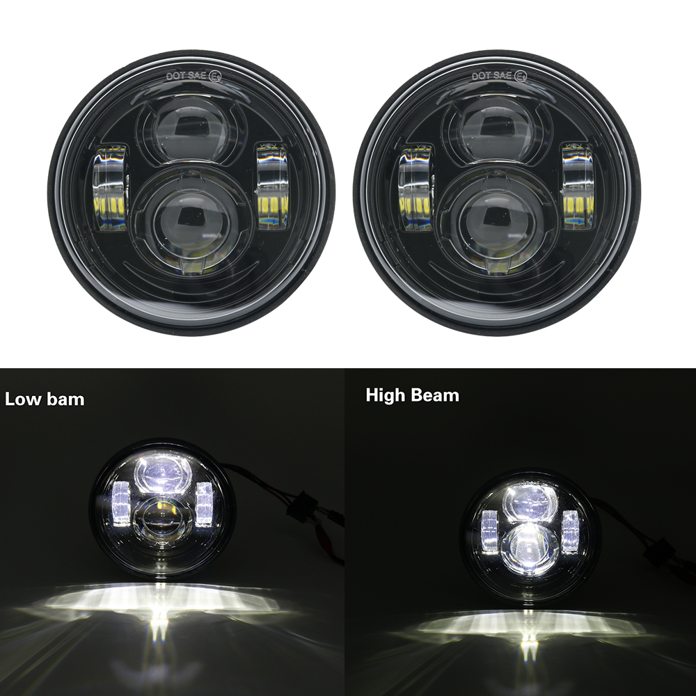 2PCS 4.65 Inch Black/chrome Motorcycle Headlight For Harley LED Moto LED Lamps For Fat Bob Led Headlight