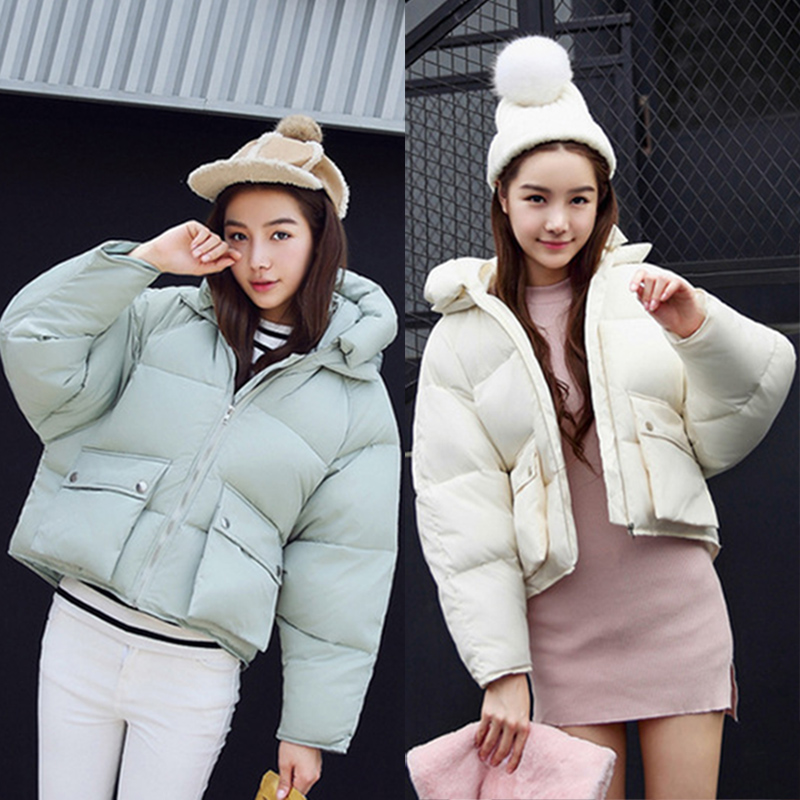 BONJEAN Winter Fashion Women Cute down Jackets Loose Padded Short Design Cotton Pink Coats Casual Warm Parkas Hoodies 2017