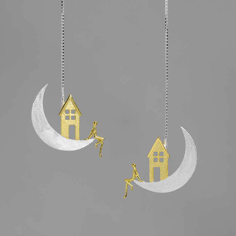 INATURE 925 Sterling Silver Home on the Moon Orecchini a pendaglio Per Le Donne Gioelleria raffinata e alla moda del Regalo