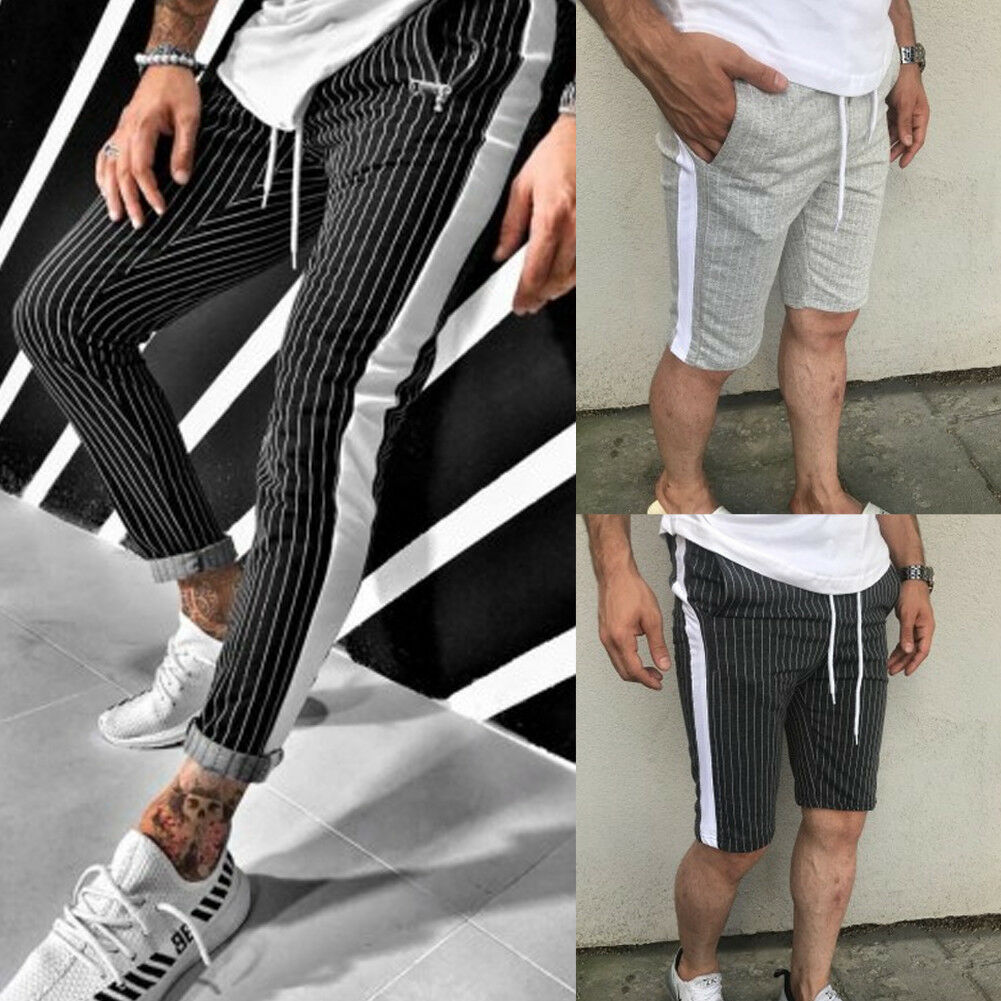 Hot Men Pants Hipster Jogger Elastic Gym Fitness Workout Track Side Color Strip Summer Spring Casual Male Sport Short