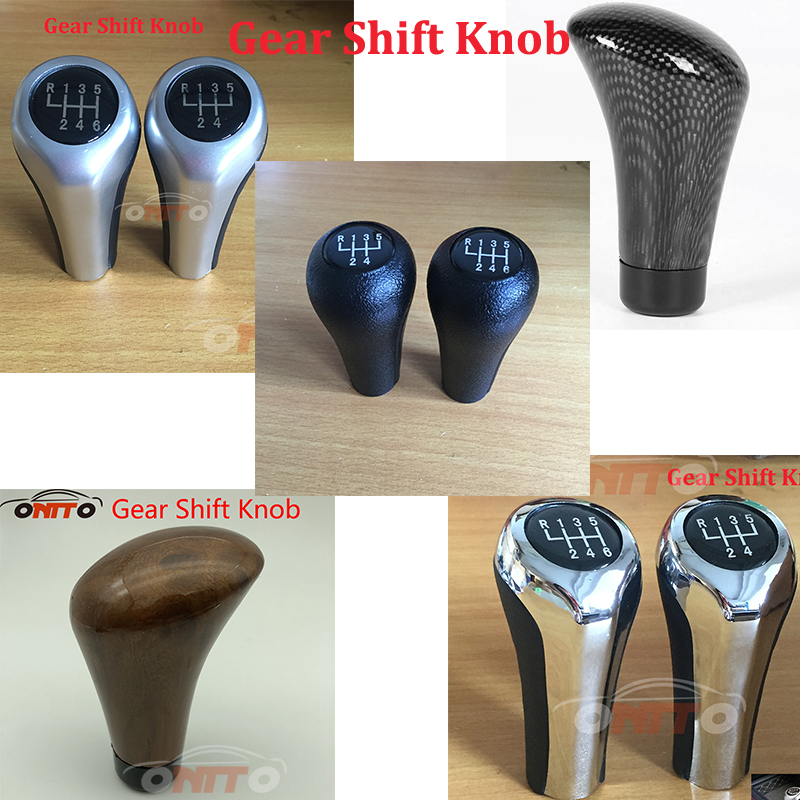 Car Accessor 1pc Bright silver matt silver color 5 6 speed Carbon fiber leather plastic Car Gear Shift Knob for BMW Series