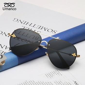 Umanco Retro Gold Frame Bee Sunglasses Women Men Vintage Fashion Metal Sun Glasses