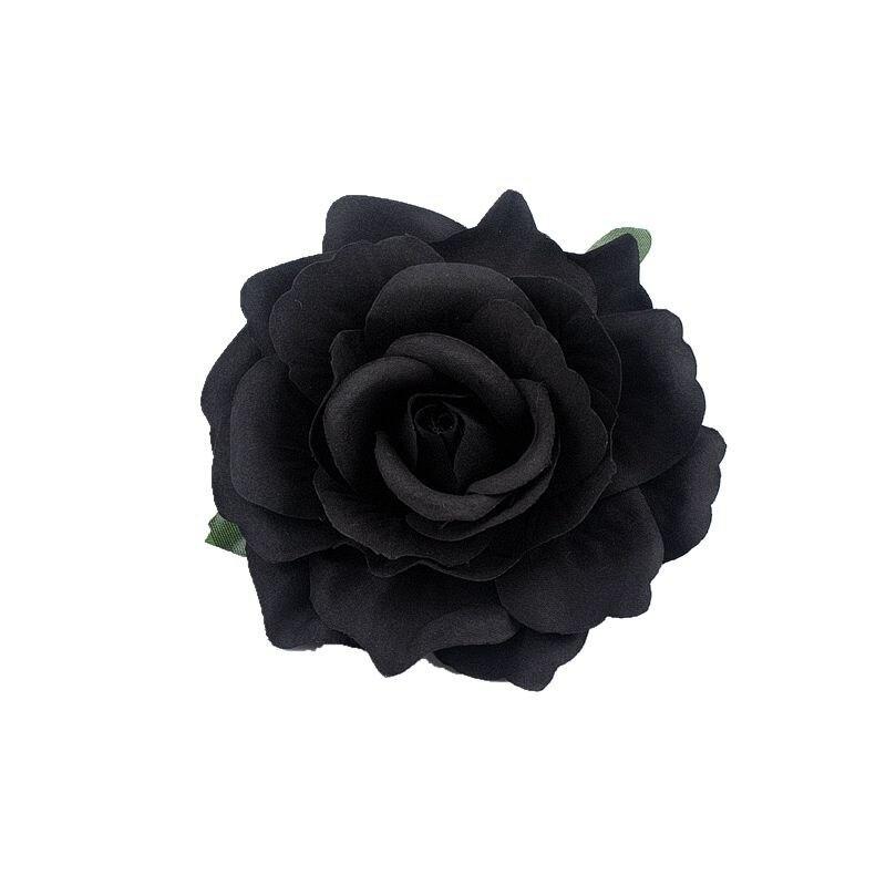 5pc 10cm Round Large Black Rose Artificial Silk White Wedding Flower Home Decor Silk Fabric Flower Heads Plastic Faux Flowers