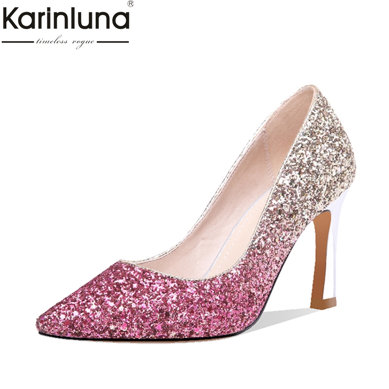 Karinluna Sexy Thin High Heels Party women s Stiletto Large Size 43 Ins Style 2019 Brand