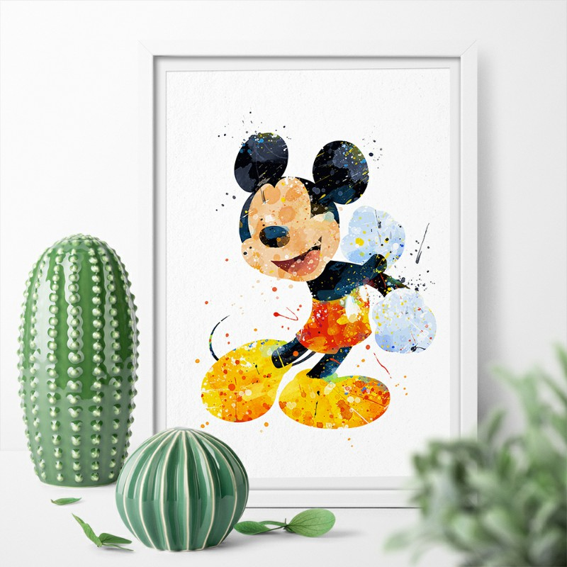 Us 7 84 Watercolor Cartoon Minnie Mickey Mouse Posters Prints Canvas Painting Wall Art Pictures For Home Decoration In Painting Calligraphy From