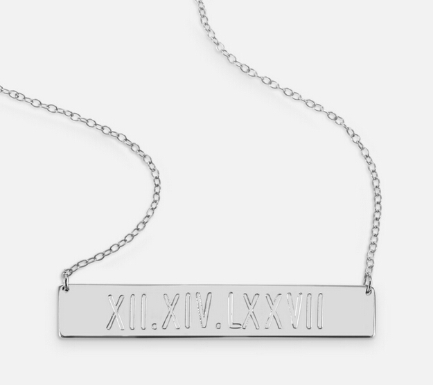 Wholesale Silver Engraved Roman Numberal Bar font b Necklace b font Personalized Date Pendent Custom Memory