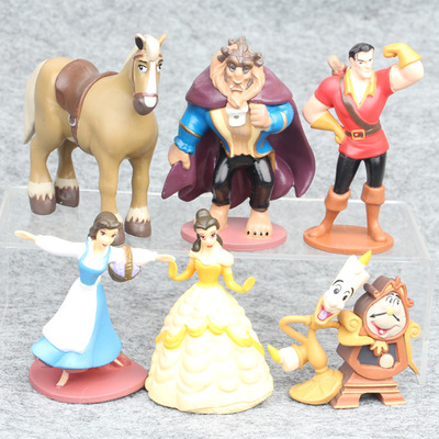 6pcs/set Beauty and the Beast Princess Bella Beast PVC Figures Collective Model Toys Girls Gifts 7-10cm