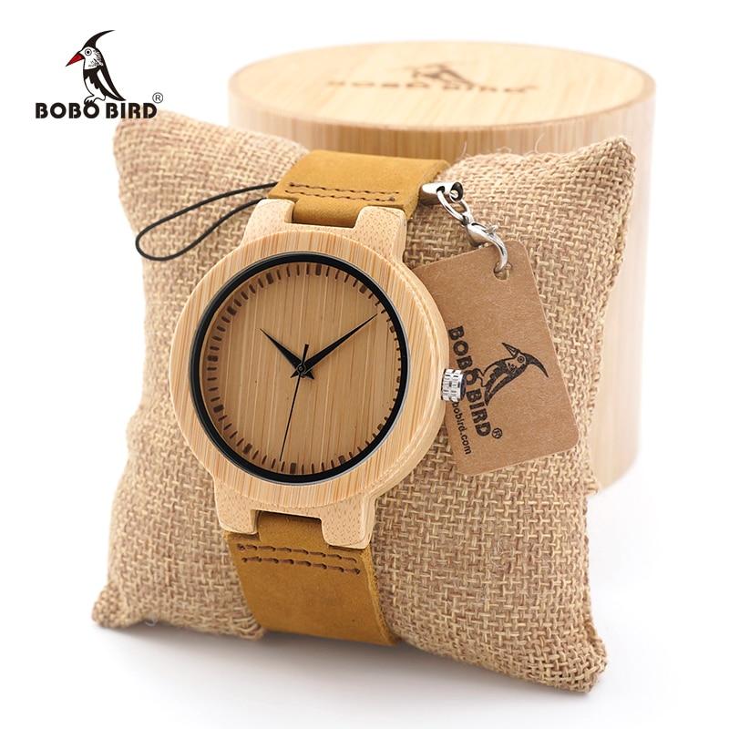 BOBO BIRD Men's Bamboo Wood Watches Simple Design Men Top Brand Wooden sport quartz Wrist Watches custom logo