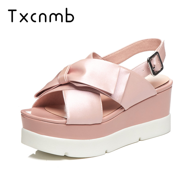 TXCNMB shoes woman 2019 new arrival summer genuine leather women sandals high heel platform casual shoes