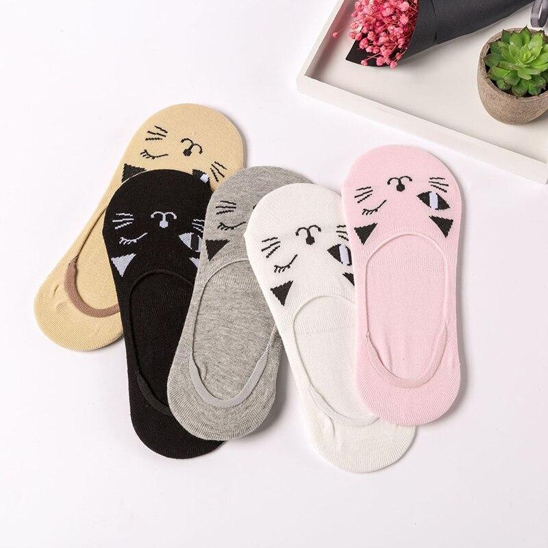 Cotton kawaii Women Socks Anti-Slip Invisible Girls Low Cut Boat No Show non-slip low cut socks ankle
