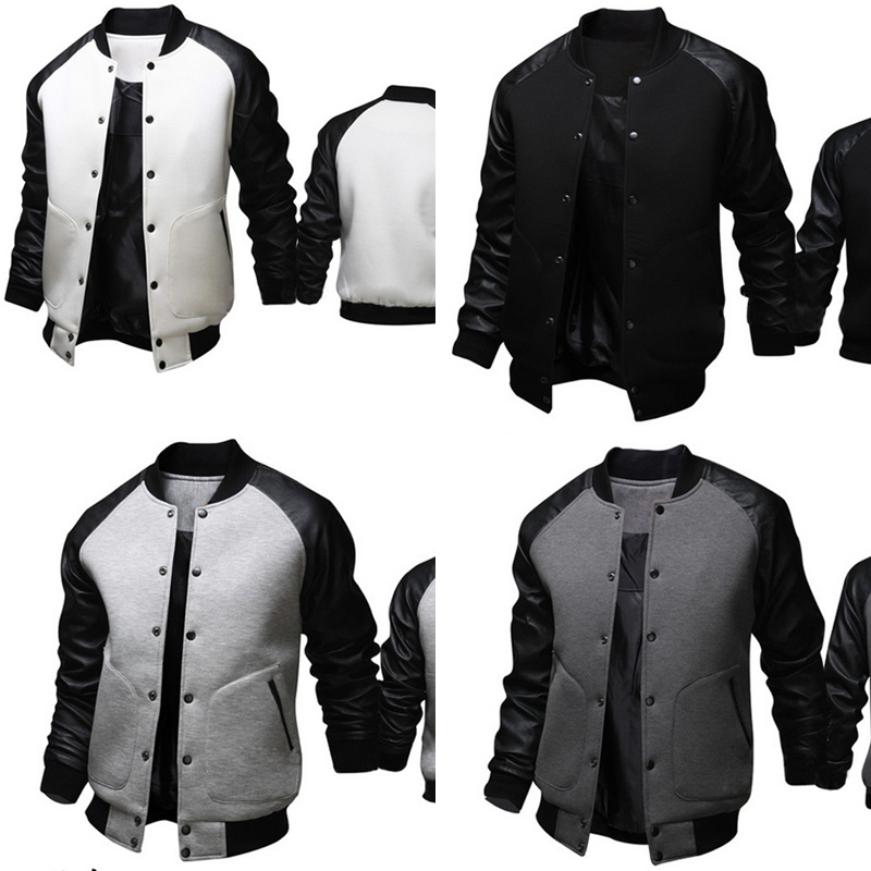 2017 Men Cool College Baseball Jacket Black White Full Sleeve Male Slim Fit British Button Coat