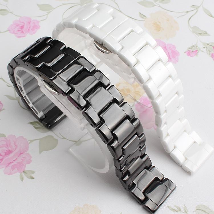 14mm 16mm 18mm 20mm 22mm Høj kvalitet keramiske urbånd sort hvid til smarte ure mænd diamantur ladys bånd tilbehør
