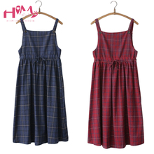 2018 Summer Suspender Midi Dresses Women Mori Girl High Waist Long Red Cute Preppy Japanese Casual Pleated Plaid Strap Dress