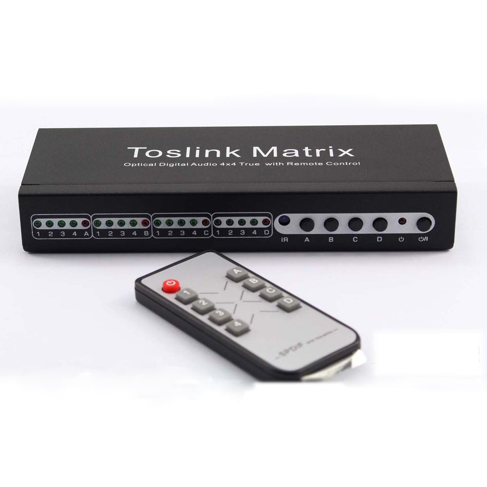 TOSLINK Matrix 4 In 4 Out SPDIF 5.1 Digital Audio Optical 4x4 True Matrix Switch Switcher Splitter video converter with Remote vs0202 2x2 matrix video switcher function audio