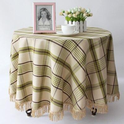 European style high grade cotton linen checkered round table cloth style garden table cloth