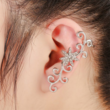 2017 Women Fashion Vintage Jewelry Silver Plated Full Rhinestone Crystal Flower Alloy Vine Ear Cuff Earrings only for left ear