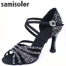 Samisoler de diamantes de imitación negro baile zapatos de mujer zapatos de  baile de Salsa zapatos de mujer zapatos de tango Lat. ff9f2053b3c7