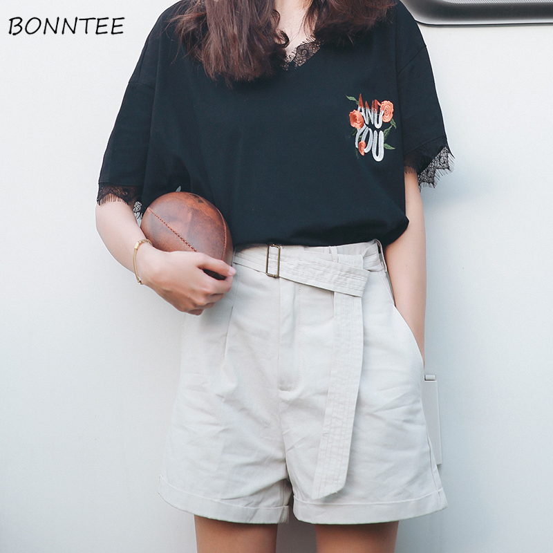 Shorts Women Casual Cargo Short Lady Summer Trendy Clothes Chic Womens Solid Sashes Elegant Loose All-match Pocket Simple Korean