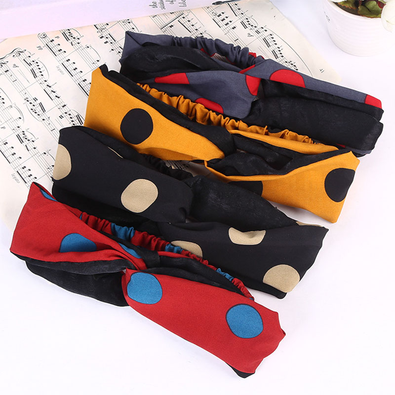 Купить с кэшбэком Sale 1PC Dots Printed Quick Dry Girls Hair Bands  Comfortable Soft Elastic Hair Accessories
