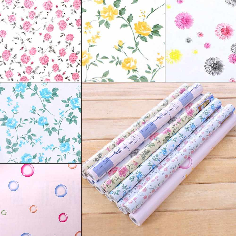 RAYUAN Floral Self Adhesive Drawer Liner Wall Sticker Kitchen Cabinet Table Shelf Contact Paper Wallpaper Mural 45x200CM
