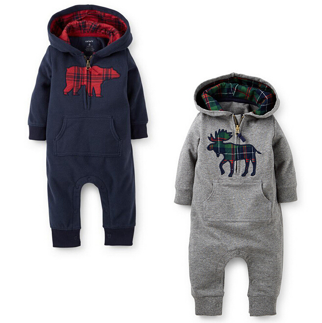 460ede1e8 2015 New Baby Outdoor Clothes Boys Girls Autumn Hooded Rompers Deer ...