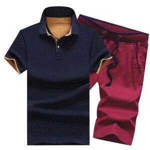 القطن رجل مجموعات الصيف زر قمصان بولو مجموعات رفض رجل السراويل 4XL الرجال الملابس 2 قطعة مجموعة رياضية مرونة الخصر السراويل