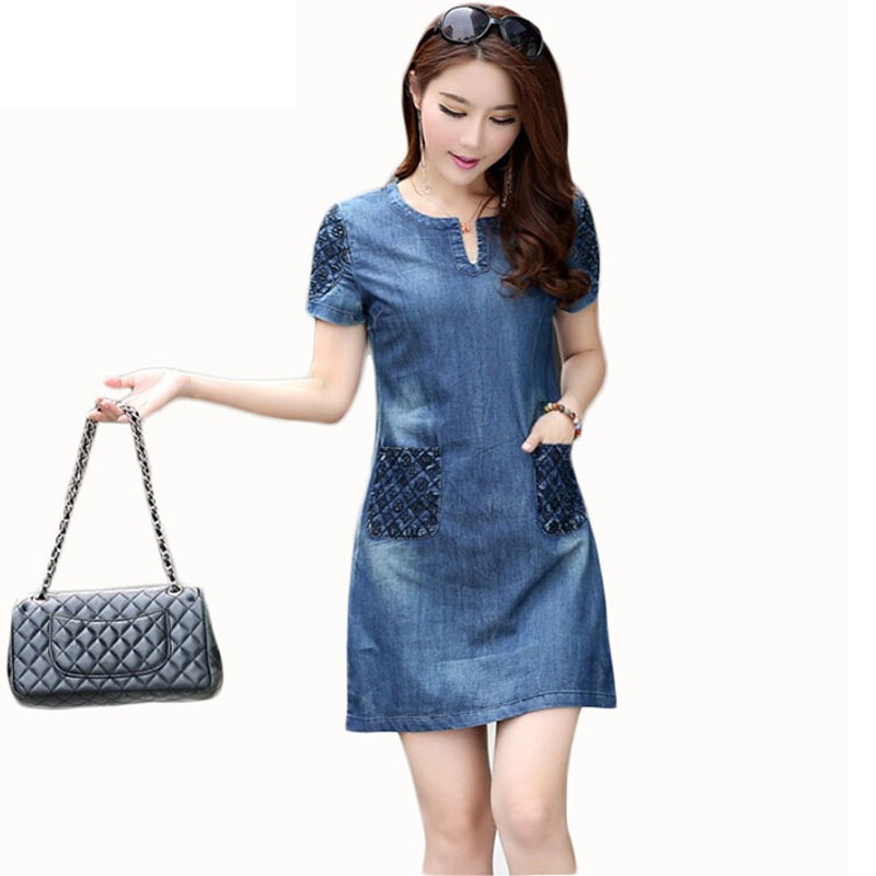 Creative Nordic Winds Denim Dress New Trendy A Line Shirt Jean Dress Midi Blue Womens Elegant XXXl Cowboy ...