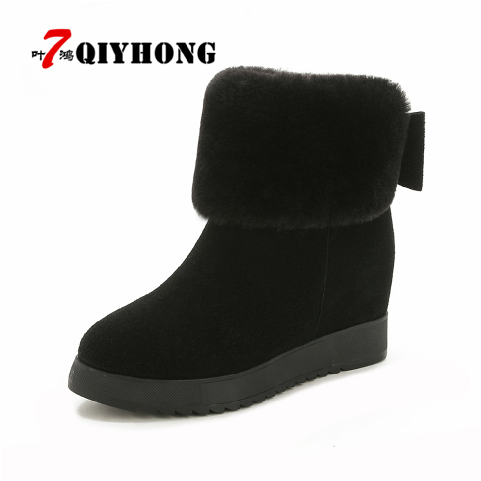 Winter Women'S Zip Boots Plus Shoes Snow Platform Boots Female Thermal Cotton-Padded Shoes Increased Platform Flat Ankle Boots