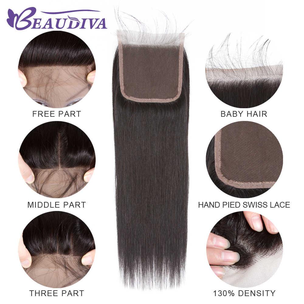 Beaudiva Hair Extension 100% Human Hair Bundles With Closure Brazilian Hair Weave 3 Bundles Straight Bundles With Lace Closure