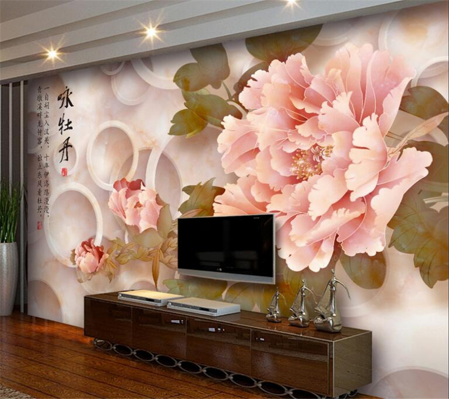 Beibehang 3d Wallpaper Peony Marble Relief TV Sofa Background Wall Living Room Bedroom Background Mural photo wallpaper 3d large decorative painting flowers 3d mural wallpaper for bedroom living room sofa relief tv background wall