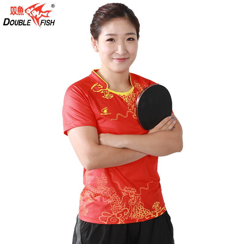 Double fish Table Men Women Table Tennis Sports Clothes PingPong Clothes T Shirt Breathable Fast Drying Wrinkle Free Liu ShiWen(China)
