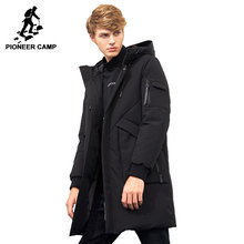 2018 thick winter men down jacket brand-clothing hooded warm duck down coat male length black jacket(China)