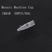 Fresshipping 50Pcs/Lot Mosaic Round 1R Tattoo Machine Tattoo Needle Cap For Permanent Makeup