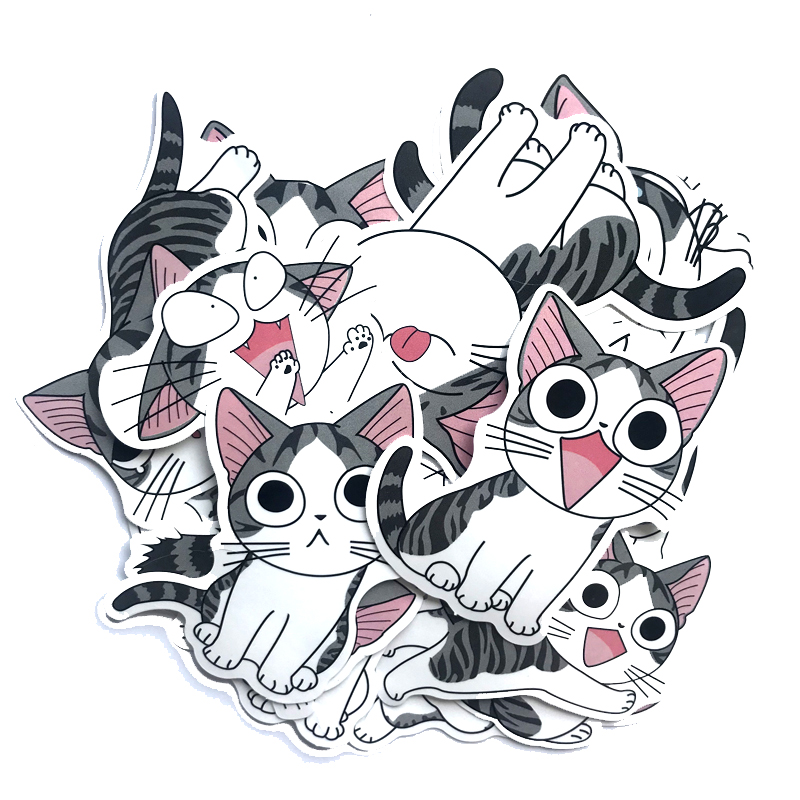 Stickers 14pcs Cheese Cat Sticker Pvc Cute Kitty Suitcase Skateboard Laptop Stickers Motorcycle Diy Home Decor Decal Kids Toy Decals