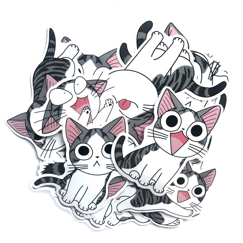 14pcs Leuke Kaas Kat Stickers Anime Cartoon Graffiti Bagage Trolley Case Sticker Laptop Kid Speelgoed Creatieve Kat Sticker Decoratie