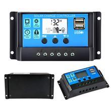 30A/20A/10A 12 В 24 в автоматический Солнечный контроллер заряда PWM с ЖК-дисплеем Dual USB 5 В выход солнечная панель регулятор PV Home