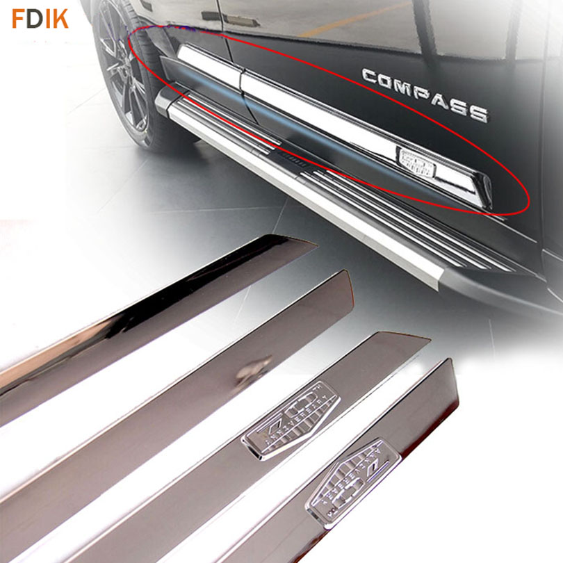 Car Styling Chrome Body Door Side Moulding Trim Cover for Jeep Compass 2007-2014 car styling for accessories subaru xv 2018 chrome door side moulding cover trim sticker car stickers side door streamer 4pcs set