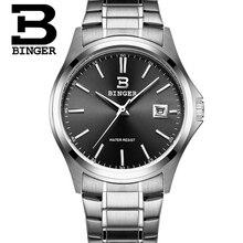 2016 Бингер Новая Мода Смотреть Мужчины Элегантный Повседневная Стали Кварцевые Часы Человек Бутик Подарок Женева Наручные Часы Серебро