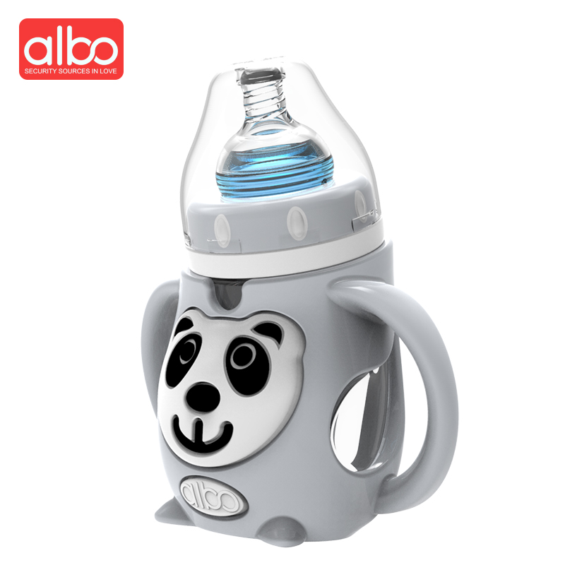 ALBO Hot Selling Cute Animal Glass Baby Feeding Bottle Panda Monkey Baby Milk Bottle With Handle German Material Silicone Nipple ...