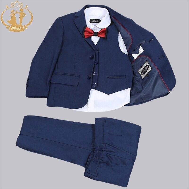 Nimble Brand New Formal Solid Boy Suits Set 3 stycken + Jacka + Pant - Barnkläder - Foto 4
