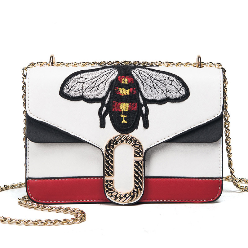 Fashion Women Chains Messenger Bags New Brand Leather Female Shoulder Bag Luxury Little Bee Embroidery Woman Handbags Sac A Main