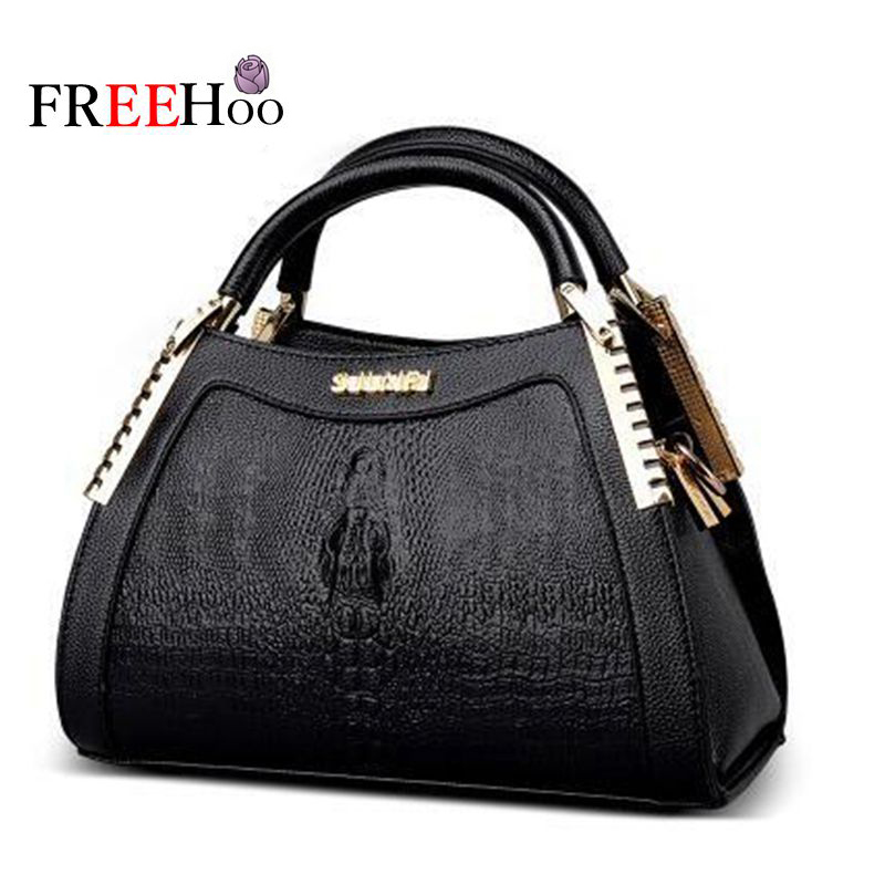 2017 new style europe women famous brands leisure luxury the crocodile grain pu shoulder bag lady handbag trapeze bag 2017 new style europe