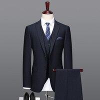 Мужчины костюм 70% шерсть синий высокого качества вечернее однобортный фасон мужские костюмы для свадьбы Костюм из 3 предметов 2 шт. костюмы д