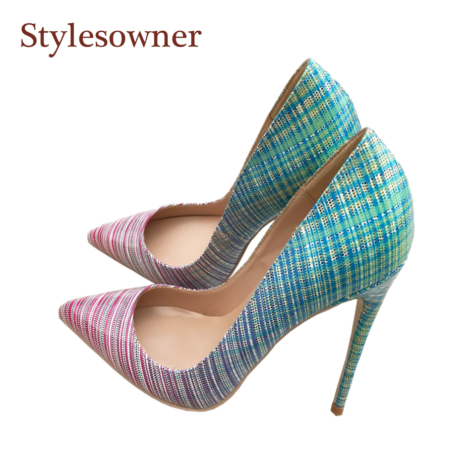 Stylesowner 2018 New Design Women Sexy High Heel Party Shoe Gradient Color 12/10/8cm Lady Ultra High Pointed Toe Single Pumps graceful women s pumps with hit color and pointed toe design