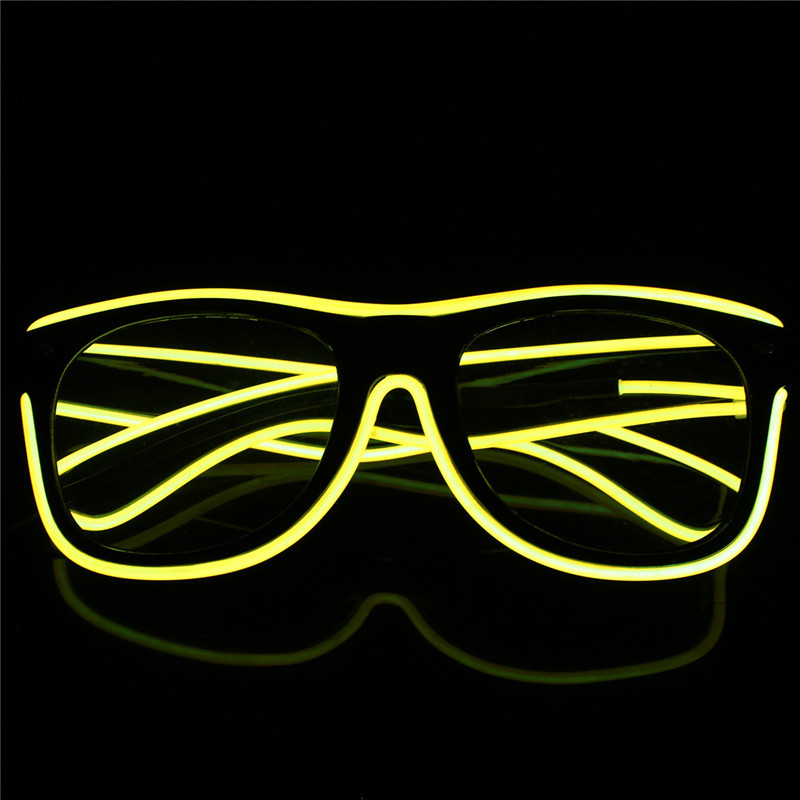 Stylish El Wire Neon LED Light Up Shutter Shaped Glasses For Christmas Haloween Party Multi Color Frame Costume Decoration