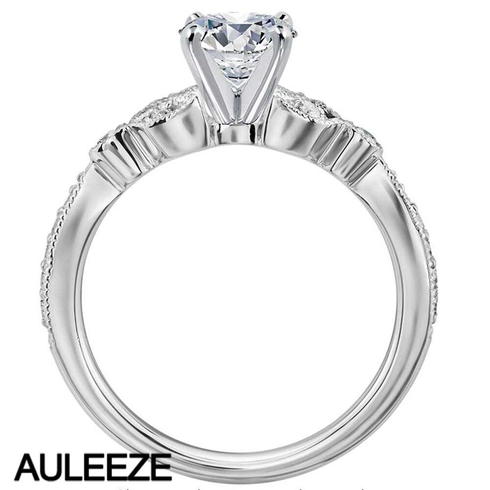Petite Винтаж Pave Leaf Лаборатория Grown Алмаз Обручение кольцо 0.5ct moissanites 14 К белого золота Кольца для Для женщин классические свадебные группа