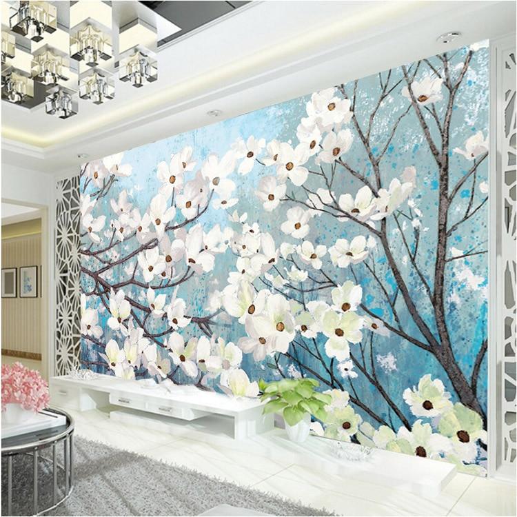Elegant 3d wallpaper magnolia wall murals custom oil for 3d room paint planner