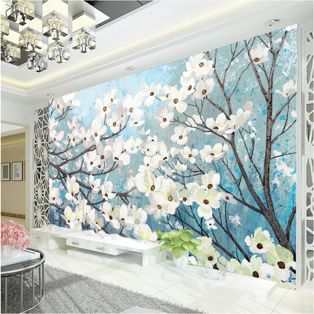 Elegant 3D Wallpaper Magnolia Wall Murals Custom Oil