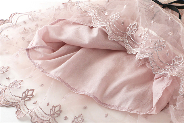 Baby Girl Floral Lace Mesh Princess Tutu Dress Children Hollow Out Wedding Christening Gown Dress For Kids Party Wear Vestidos 3